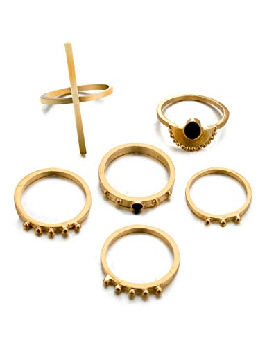 SL SweetLove Fashion Stick Shape Ring 6 PCS Bohemian Stacking Rings Set Joint Knuckle Nail Midi Ring Set Golden