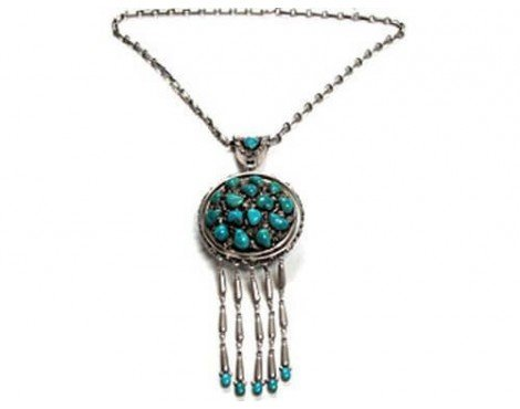 Mary and Lee Weebothee, Silver with Morenci Turquoise Cluster Necklace ()