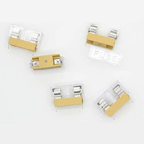 Porte-fusible 5 X 20mm Fusibles Bo/îtier De Fusibles Assorti Bo/îtier De Protection De Fusible Noir De Haute Qualit/é En Plastique Robuste Et M/étal 20 Pcs