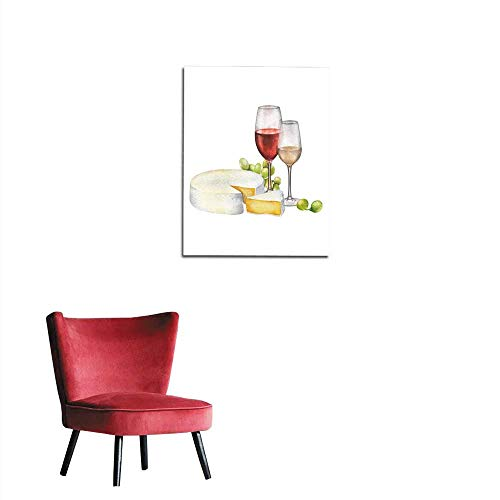 longbuyer Wallpaper Watercolor Glasses of red and White Wines Cheese and White Grapes Mural 24