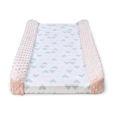 (Wipeable Changing Pad Cover with Plush Sides Hearts -Cloud Island153; Pink Pink)