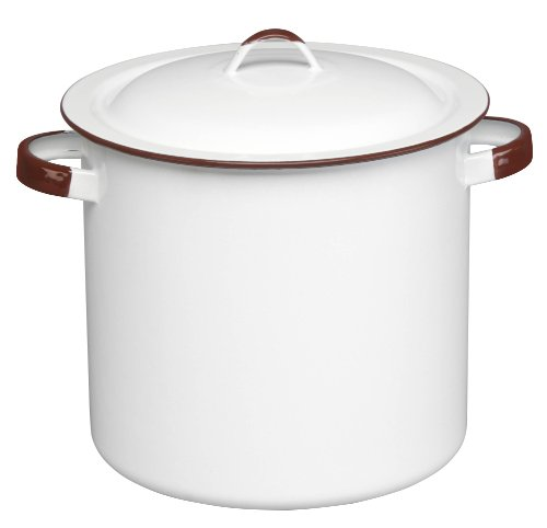 Cinsa 312011 Trend Ware Enamel on Steel Steamer Pot with Lid and Rack, 12-Quart, White