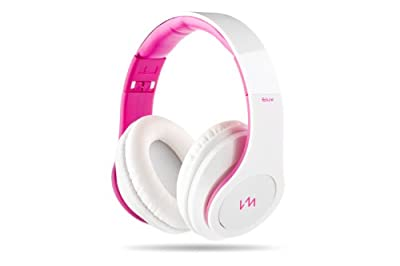 VM Audio Elux Over Ear DJ Stereo MP3 iPhone Bass Headphones - Piano White/Pink