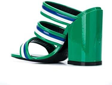 Kenzo Luxury Fashion Femme F952MU546L6457 Vert Cuir Sandales | Saison Outlet