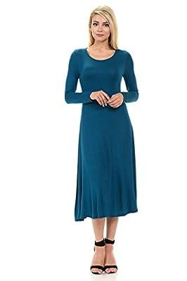 iconic luxe Women's Long Sleeve A-Line Midi Dress