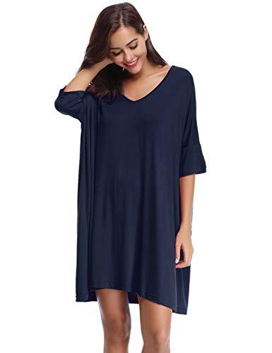 Aibrou Women's V-Neck Short Sleeve T-Shirt Dress Loose Nightshirt Sleepwear (X-Large, Dark Blue)