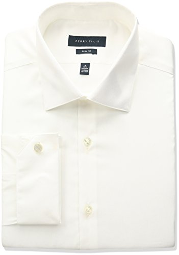 Perry ellis collection men 39 s slim fit solid non iron dress for No iron slim fit dress shirts