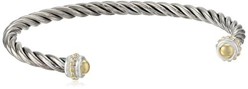"""""""Two-Tone"""" 14k Yellow Gold Plated and Sterling Silver Thin Twisted Bangle Bracelet"""