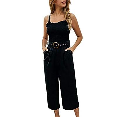 Monos Vestir Mujer Largos, SUNNSEAN, Jumpsuits Mujer de Tirantes, Sexy, Atractivo, Espalda Abierta, con Bolsillo Cinturón, Pantalones Elegantes de Verano Playa, Monos Petos Mujer: Ropa y accesorios