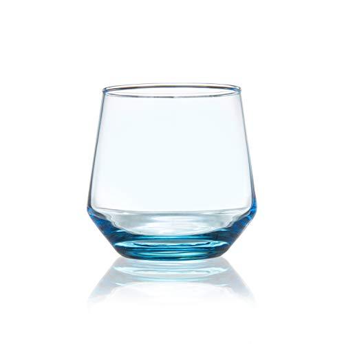 Burns Glass 12.5 OZ AZURE BLUE STEMLESS WINE Glasses Set of 6 I Clear Heavy Glass – Drinking Stemless Wine Glasses for…