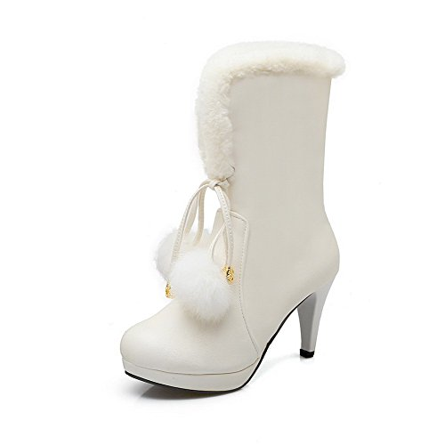 Round Materials Women's White Calf Allhqfashion Mid Boots Closed Heels Blend Toe High qHZSt