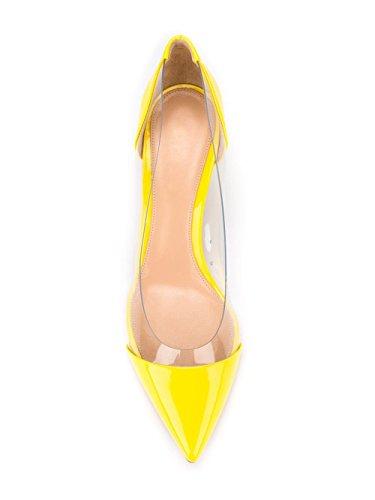 Toe Pointed Transparent Women's Dress Yellow Kitten Sammitop 5cm Heel Pumps 6 Shoes PVC w1IWUS