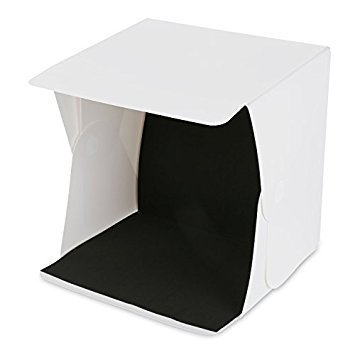 Amzdeal Light Box Kit 16'' x 16'' Foldable Studio Light Box Portable Photo Studio Tent Photography Studio Tent with LED Light (White& Black Backdrops) by amzdeal