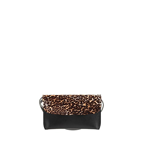 Leather Leopard Bag Evening Netta Ponyhair Black GION Women qxwZEWRpY