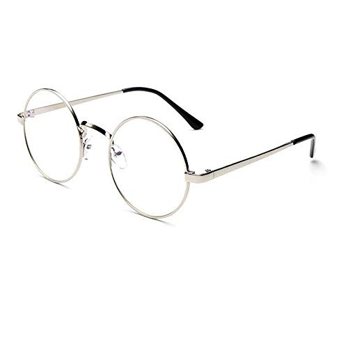 EOWEO Sunglasses And Eyewear Fashion Unisex Classic Metal Frame Mirror Rounded Glasses (Silver, 100)