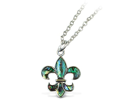 Puzzled Opal Green Aqua Fleur De Lis Necklace, 18 Inch Fashionable & Elegant Metal Style Silver Chain Jewelry with Genuine New Zealand Paua Shell Pendant Symbol Themed Unisex Fashion Neck Accessory ()