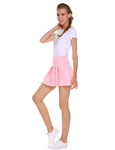 Chigant Women High Waist Pleated Mini Tennis Skirt Solid Short Skirts