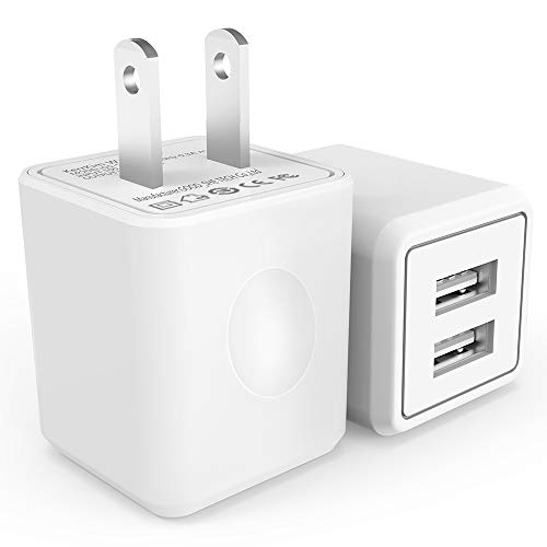 KerrKim Wall Charger, 2.1A 12W Dual Port Portable Universal USB Wall Charger for Apple iPhone,iPad, Samsung Galaxy, HTC Nexus Moto BlackBerry, Bluetooth Speaker Headset & Power Bank, White (2-Pack)