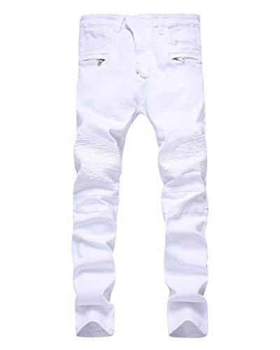 ADELINA Pantalones De Mezclilla De Moto Hombre para De Pantalones Biker Ropa Mezclilla Desgastados Desgastados Ufig Pantalones De Mezclilla Pitillo para Pantalones Ajustados Blanco