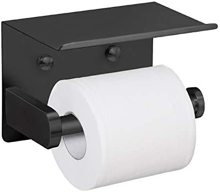 VAEHOLD Self Adhesive Toilet Paper Holder with Phone Shelf SUS 304 Stainless Steel Wall Mounted Toilet Paper Roll Holder - Rustproof and Bathroom Washroom Tissue Roll Holder with Shelf - Black