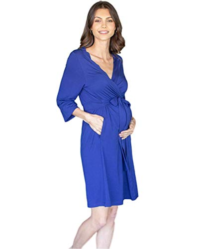 Baby Be Mine Maternity Labor Delivery Nursing Robe Hospital Bag Must Have (S/M pre Pregnancy 4-10, Navy Blue)