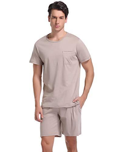 - Aibrou Men's Short Sleeves and Shorts Cotton Pajama Set Sleepwear Lounge Set Summer (Khaki, Large)