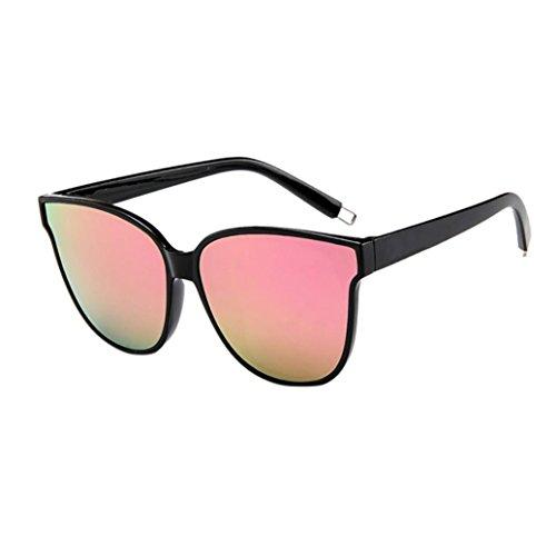 Alixyz Cateye Sunglasses for Women Fashion Mirrored Lens Metal+PC Frame (M, B)