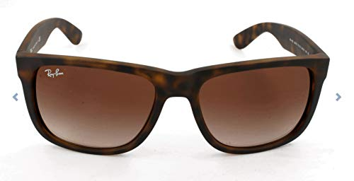 Ray-Ban RB4165 Justin Rectangular Sunglasses, Light Tortoise/Brown Gradient, 55 mm