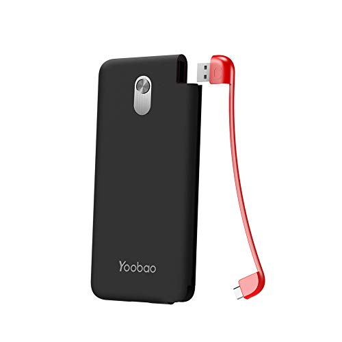 Yoobao Slim Portable Charger, 5000mAh Power Bank External Battery Pack Cell Phone Backup Charger with Built-in USB-C Cable Compatible Samsung S9+/S9, LG V30, OnePlus 6T, Google Pixel & More - Black