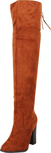 - Cambridge Select Women's Thigh-High Back Corset Lace Stacked High Heel Over The Knee Boot,6 M US,Dark Tan IMSU
