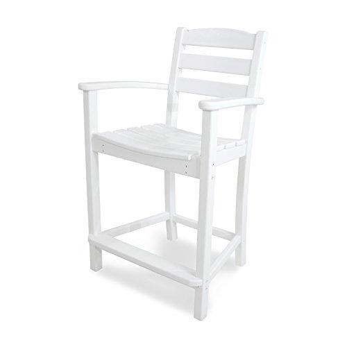 POLYWOOD TD201WH La Casa Café Counter Arm Chair, White