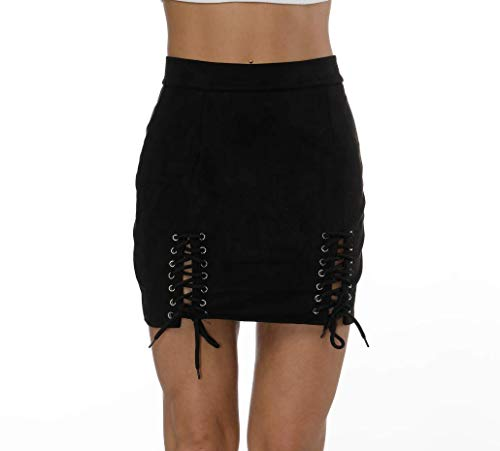 (Helisopus Women Sexy Winter High Waist Lace Up Tight Bodycon Faux Suede Short Pencil Mini Skirt)
