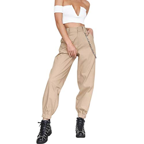 (Harem Baggy Pants for Women,Teens Girls Casual Hip Hop Dance Jogging Sweat Pants Slacks Trousers with Pocket Chain (S, Khaki))