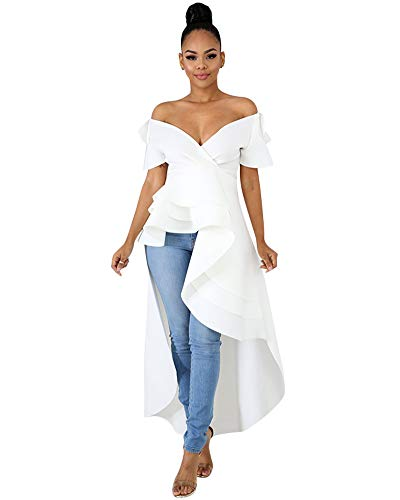 OLUOLIN Shirts for Women Sexy Off The Shoulder Tops Blouses White M
