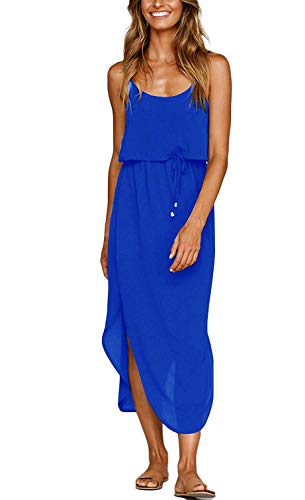 Yidarton Women's Dress Summer Casual Floral Adjustable Strappy Split Midi Beach Dress (C-Blue Pure Dress, Small)