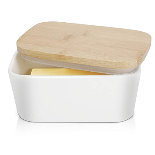 Large Butter Dish 22 oz (650ml), Airtight Butter Keeper Butter Container, Porcelain Butter Keeper Container with Beech Wooden Lid & Seal Ring