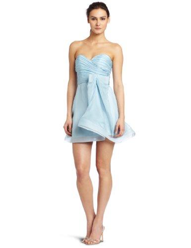ABS Allen Schwartz Women's Strapless Organza Dress, Powder Blue, (Abs Strapless Party Dress)