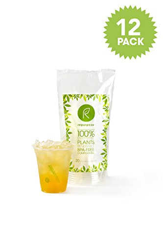 Repurpose 100% Compostable Plant-Based Clear Cold Cup, 12- ounce (240 Count) (Biodegradable Cups Cold)