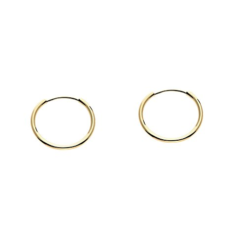 14k Yellow Gold Round Flexible Thin Continuous Endless Hoop Earrings, Unisex (12mm, yellow-gold) 14k Yg Box