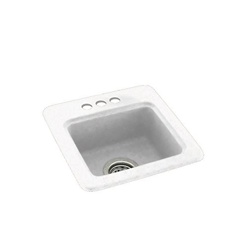 Swanstone BS01515.010-3 3-Hole Solid Surface Bar/Prep Sink, 15