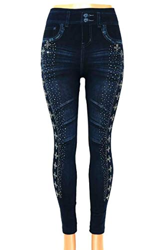 ITSALLLEGGINGS Women's Soft, Stretchy, Jean Look Jeggings, Denim Leggings (One, Silver Studded Cross Detail)