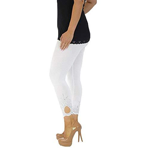 Dressin Women Sport Yoga Print Workout Mid Waist Running Pants Plus Size Fitness Elastic Lace Leg Trim Leggings White