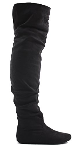 3 OVER Black RIDING SIZE THIGH KNEE KNEE WOMENS HEEL THE FLAT BOOTS 8 STYLE BIKER Suede LADIES HIGH LOW Z0tT5