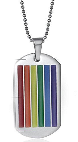 Gay Star Wars Costumes (Daesar Stainless Steel Rainbow Necklace Enamel Rainbow Strip Gay Lesbian Pride LGBT Pendant)
