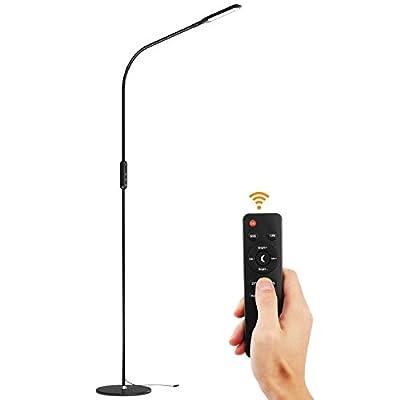 Lewondr LED Floor Lamp, Standing Lamp Reading Floor Light with Remote Control, Flexible Gooseneck, Stepless Brightness/Color Temperature, Memory Function for Bedroom, Living Room - Black