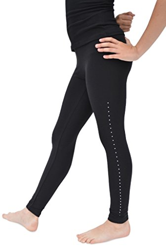 Stretch is Comfort Girl's Cotton Rhinestone Footless Leggings Black Small