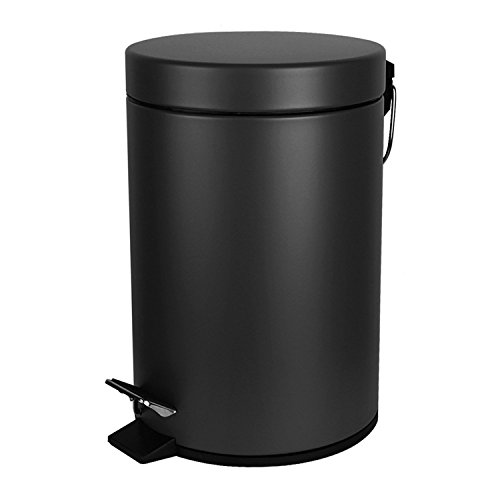 TECKING Small Round Step Trash Can(1.3Gal/5L),Carbon Steel Fingerprint-Proof,with Removable Inner Bucket for Garbage Storage & Organization(Grey)