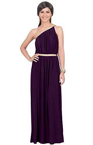 KOH KOH Womens Long One Off The Shoulder Grecian Flowy Summer Formal Evening Bridesmaid Wedding Party Sexy Sundress Gown Gowns Maxi Dress Dresses for Women, Purple M 8-10 (1)