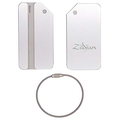 (ZILDJIAN CYMBAL STAINLESS STEEL - ENGRAVED LUGGAGE TAG - SET OF 2 (METALLIC SILVER) - FOR ANY TYPE OF LUGGAGE, SUITCASES, GYM BAGS, BRIEFCASES, GOLF BAGS)