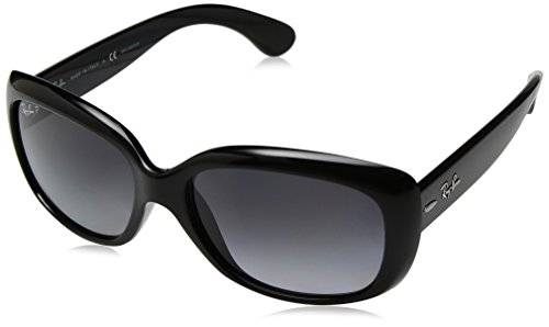 Ray-Ban Women's Jackie Ohh Polarized Rectangular Sunglasses, Shiny Black, 58 - Rb4101 Polarized